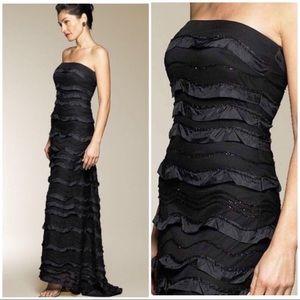 Bari Jay black ruffle tier gown